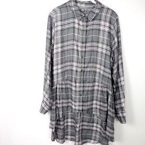 Peace & Pearls Flannel Top Blouse High-Low